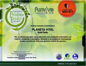 Diploma Premio FUNVIVE103