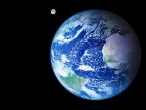 Vista desde el espacio nuestra amada Tierra con su satélite natural, la luna
