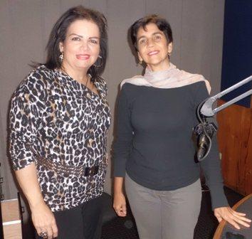 Adriana Marcano y Marisela Valero en el estudio