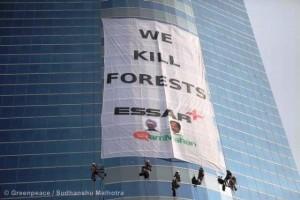 Protesta contra la minería en Mahan. Foto Greenpeace