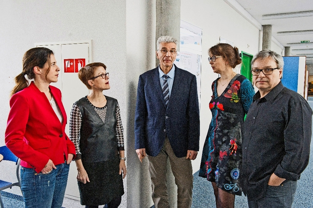 Delphine Roulet Schwab, Nataly Viens Python et Henk Verloo de la HES-SO, Nathalie Nyffeler (HEIG-VD) et Luc Bergeron (ECAL).Image: VANESSA CARDOSO