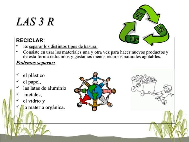 Reciclar es transformar desechos mediante procesos para convertirlo en materia prima de nuevos productos.