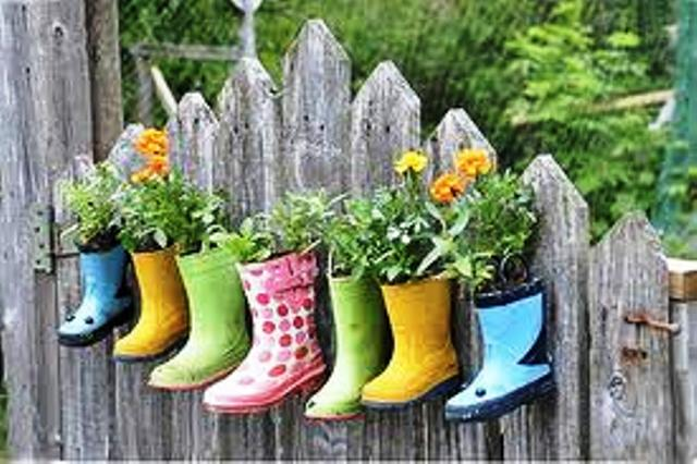 Reutilizar botas viejas para hacer materos