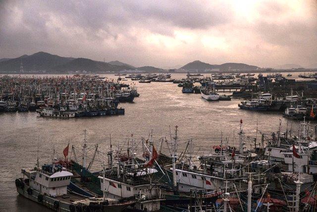 Parte de la flota china el la bahía de Zhejiang.