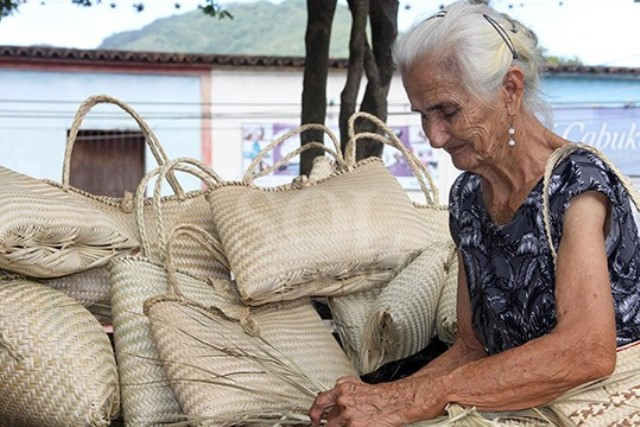 Maestra tejedora de crinejas en el Municipio Diaz. Foto Yuliannys González